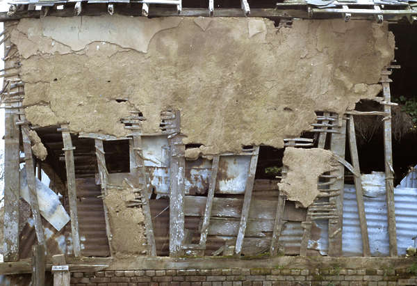 building facade barn plaster old damaged medieval wood