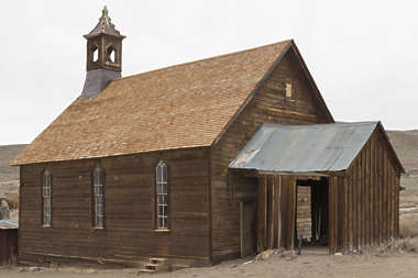 USA Bodie ghosttown ghost town old western goldrush desert arid church interior wooden bodie_002