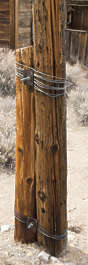 USA Bodie ghosttown ghost town old western goldrush desert arid pole post wood