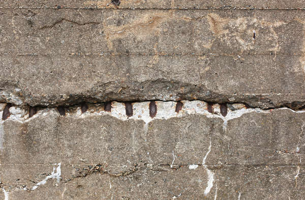 concrete bunker damaged damage rebar crack
