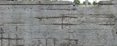 damaged concrete rebar bunker