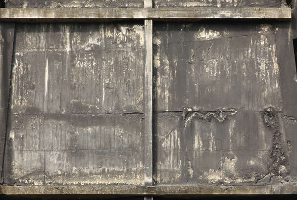 concrete bunker wall dirty black