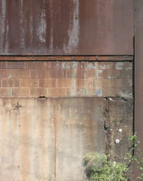 concrete dirty metal brick rust wall