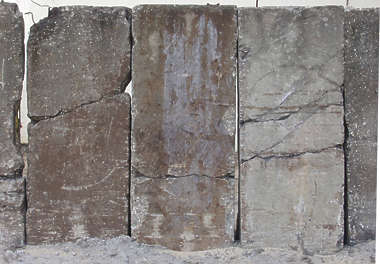 concrete rough slabs cracked damaged seam