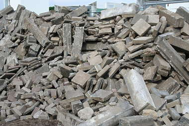 rubble bricks pile heap