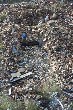 brick rubbish trash debris