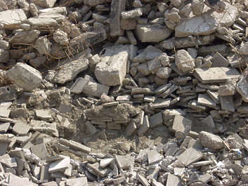 heap rubbish rubble concrete debris