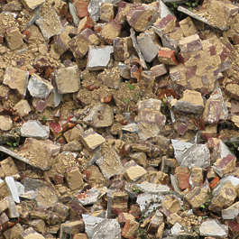 rubble trash pile debris heap brick bricks