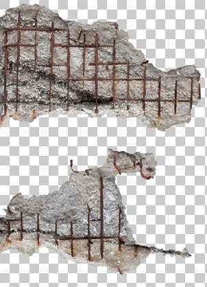 concrete bunker damaged damage rebar decal isolated masked alpha