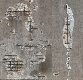plaster damaged concrete rebar old broken seam decal isolated masked alpha