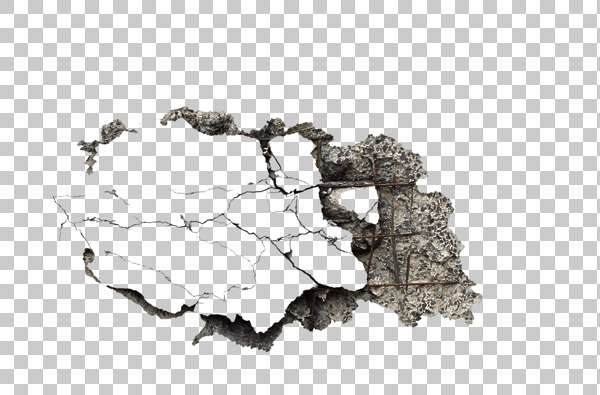 concrete damage damaged reinforced bare decal isolated masked alpha