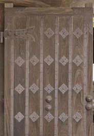 door wood old temple castle medieval metal rusted reinforced studded