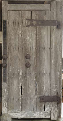 door old medieval shrine temple wood planks worn