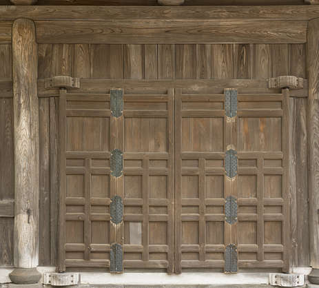 door old medieval ancient wood temple shrine japan