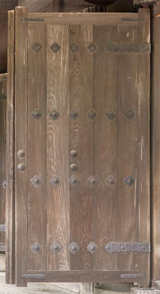japan wood door single medieval old temple shrine bare