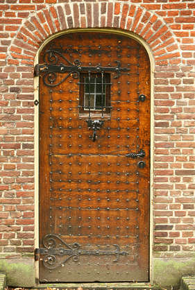 door medieval wood studded