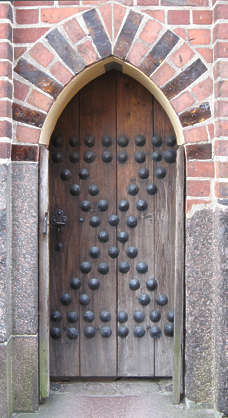 door studded medieval old wood