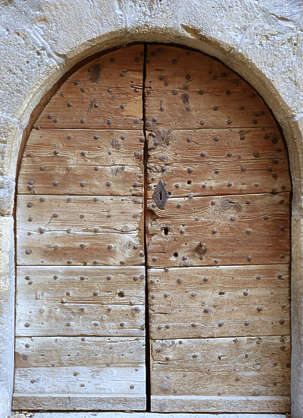 door wood old medieval studded