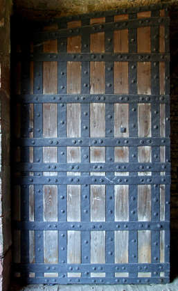 door medieval old studded metal wood