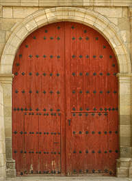 door old medieval wood arch studded