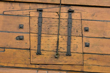 wood planks plank ship hull pirate door canon