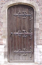 door wood old arch ornament weathered hinges