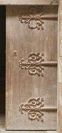 door medieval old wood ornate hinges