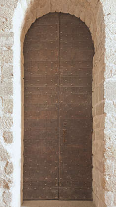 door medieval wood planks studded