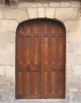 door medieval arch stone planks wood