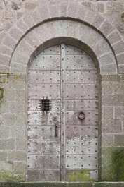 door wood medieval arch old double