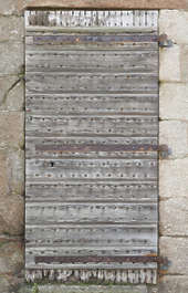 door wood single medieval old studded armored planks