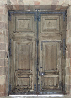 door wood double medieval old church