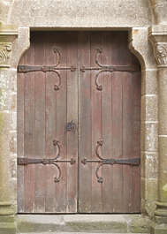 door wood double medieval hinges old