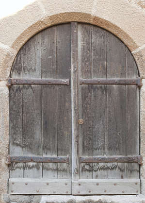 door medieval old wood planks hinges arch double