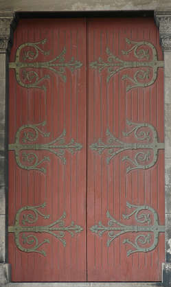 door wood hinges ornament church