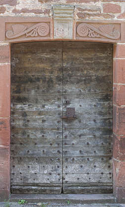 door wood wooden medieval old studded