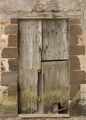 door single wooden medieval old gradient mossy