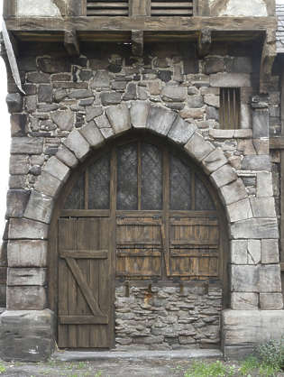 arch medieval wooden old stones door