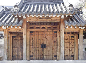 korea south hanok asia asian door double medieval old wooden entrance building facade
