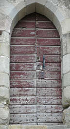 door wood church arch planks paint worn weathered