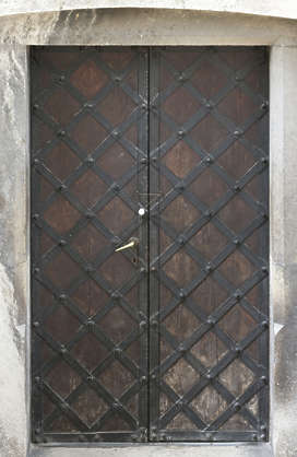 door double wooden medieval castle