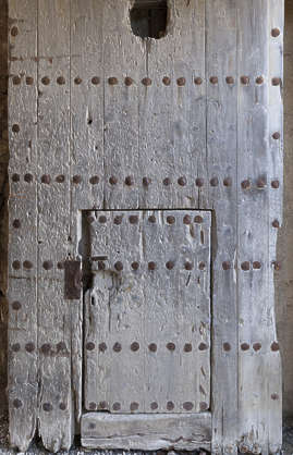 door wooden medieval studded spain
