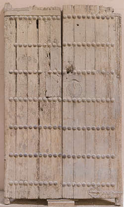 wood studded armored old medieval door morocco reinforced
