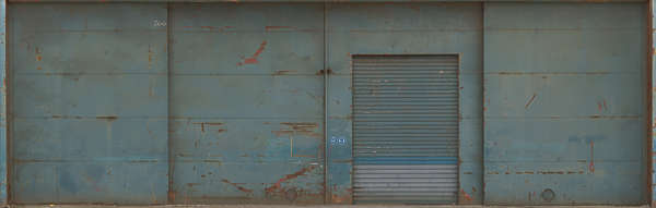 metal door big warehouse hangar wall old rusted shipyard