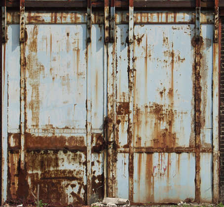 door metal rust paint sliding leaking warehouse