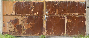 door metal rusted big
