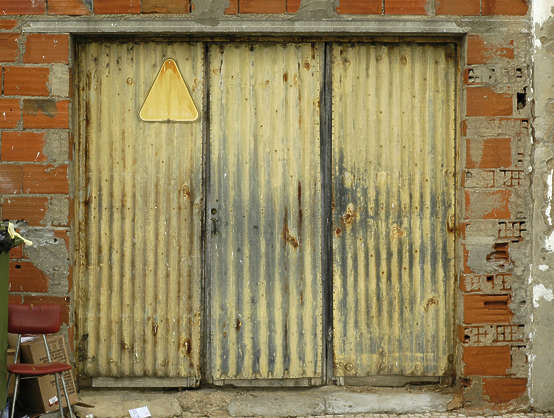 door metal plates garage old