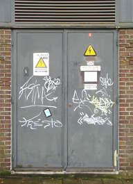 door industrial metal grafitti