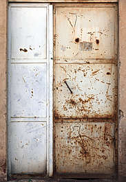 door double metal industrial rust rusted