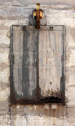 window metal shutters old rusted door